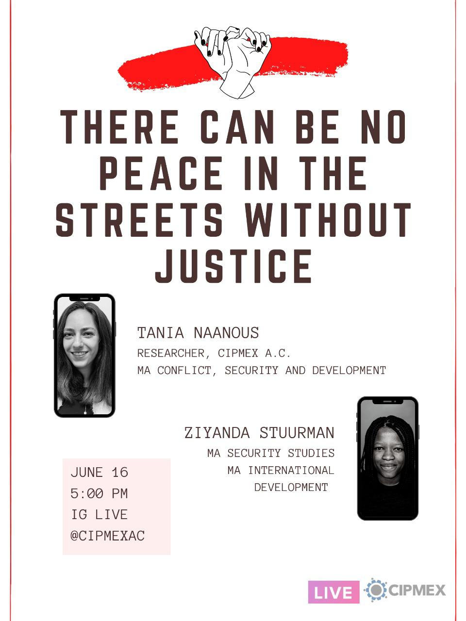 Instagram live – There can be no peace in the streets without justice.
