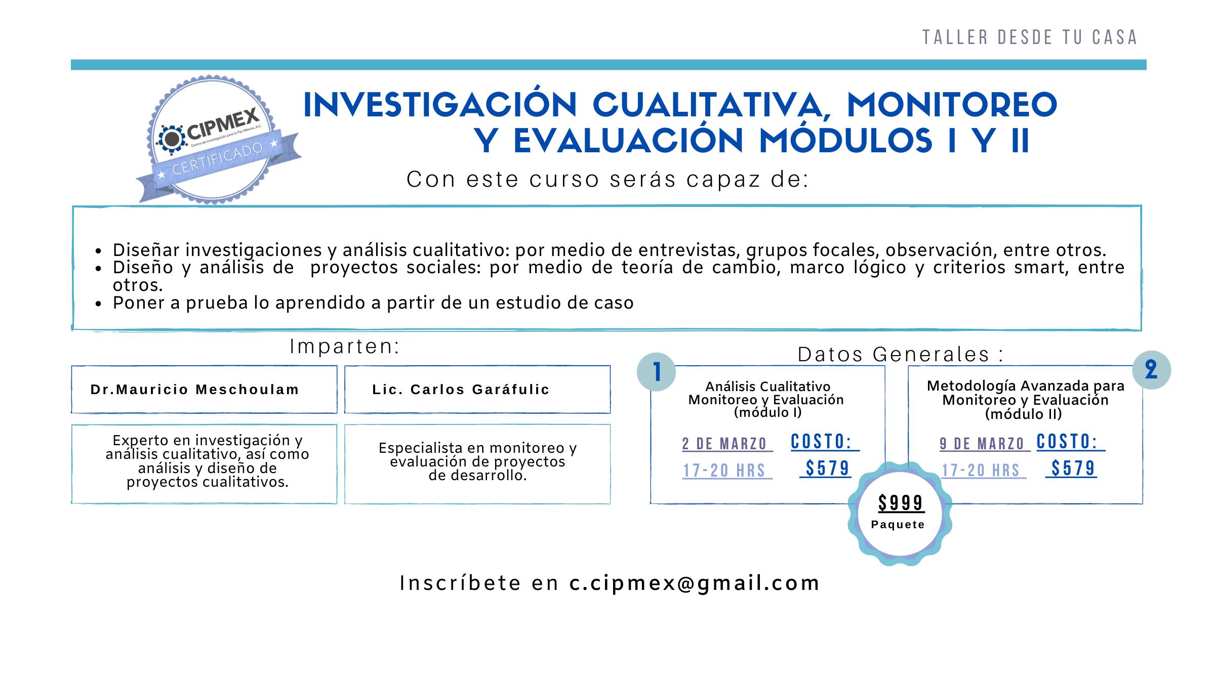 Taller: Investigación Cualitativa, Monitoreo y Evaluación Módulos I y II